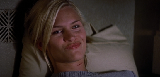 Natasha Henstridge smiling in Ghosts of Mars.