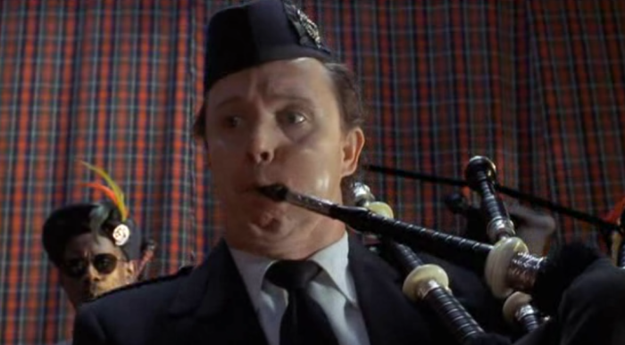Sean Connery's birthday bagpipes in The Pest