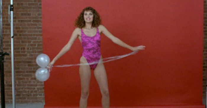 1980s one-piece pink bathing suit model