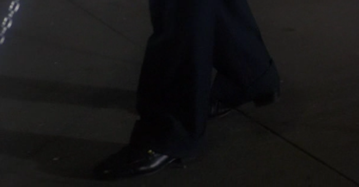 Man wearing shoes in New York City
