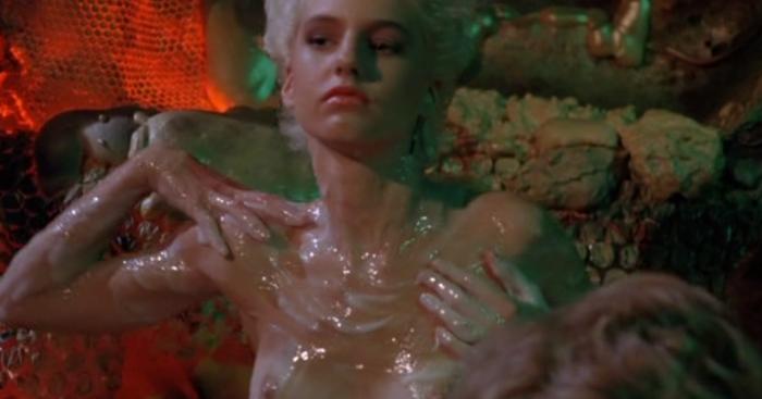 Women rubbing alien slime on themselves