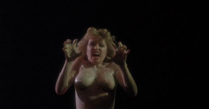 Woman growling alien