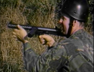 Glenn shooting machine gun in Ninja Empire