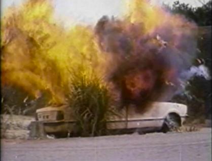 white car exploding