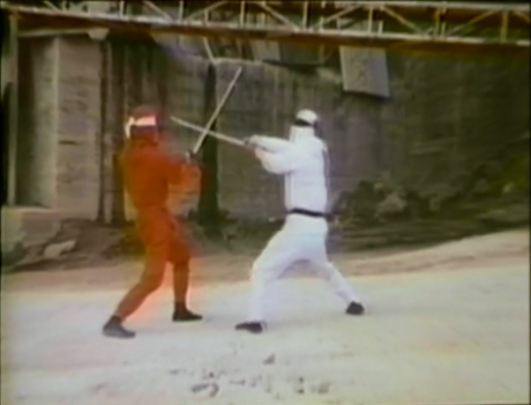 red and white ninja sword fighting