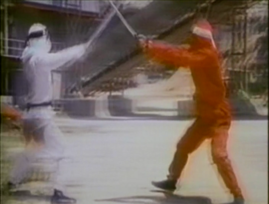 white and red ninjas fighting