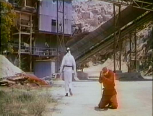 white ninja walking away