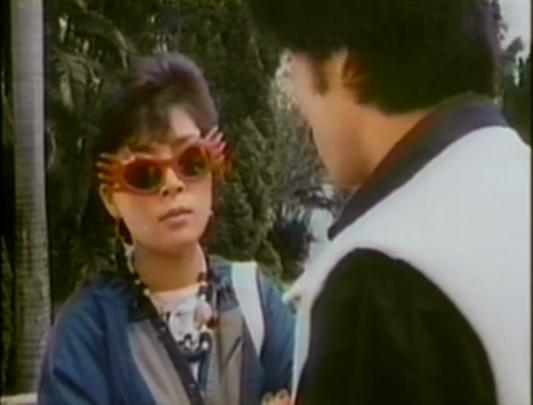 woman wearing silly sunglasses