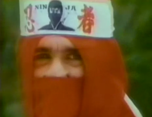 red ninja wearing headband