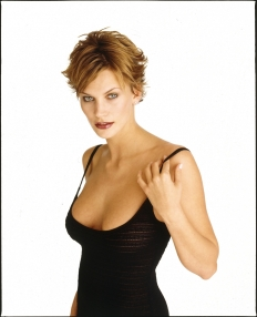 natasha henstridge modeling in black dress