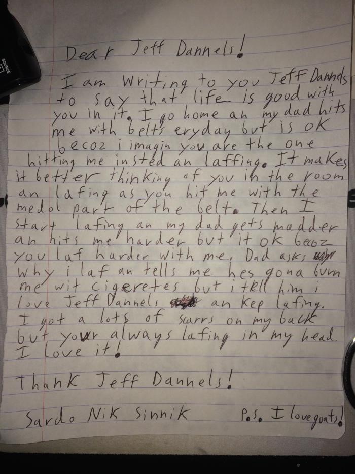 a kid's letter to Jeff Daniels