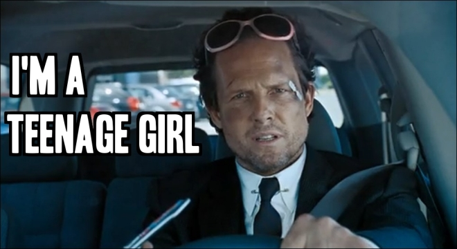Dean Winters as teenage girl in Allstate commercial