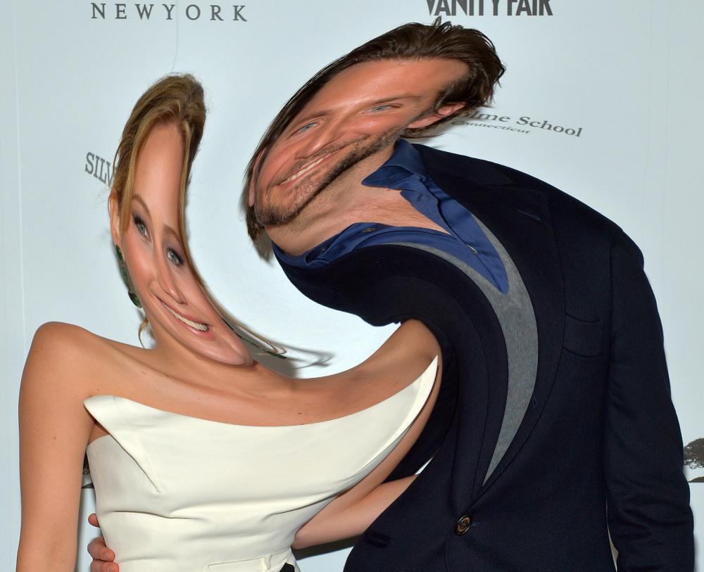 Jennifer Lawrence and Bradley Cooper enjoying being merged together