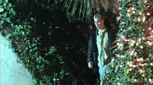 man looking suspicious in bushes